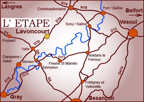 Plan d'accès au restaurant traiteur l'Etape de Lavoncourt en Haute-Saone
